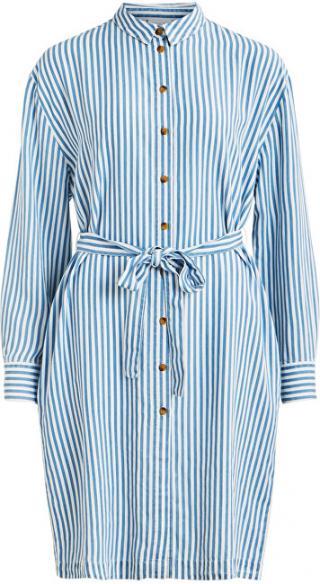 Vila Dámske šaty VISUKA L / S SHIRT DRESS / SU White Alyssum ASHLEY BLUE 34 dámské