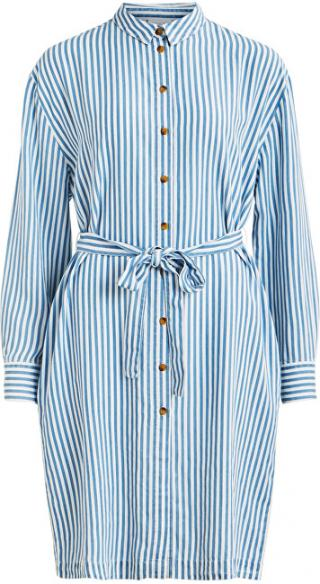 Vila Dámske šaty VISUKA L / S SHIRT DRESS / SU White Alyssum ASHLEY BLUE 40 dámské