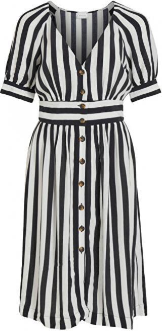 Vila Dámske šaty VISUSASSY S / S DRESS / SU White Alyssum BLACK 34 dámské