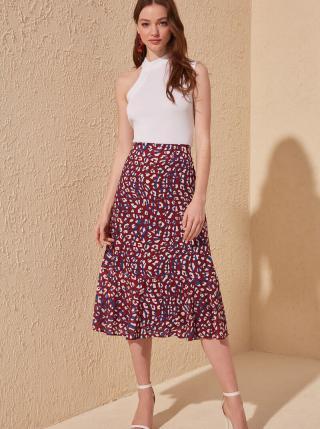 Vínová sukňa s leopardím vzorom Trendyol dámské L