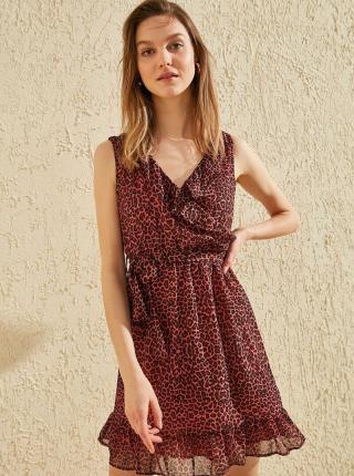 Vínové šaty s leopardím vzorom Trendyol - M dámské M