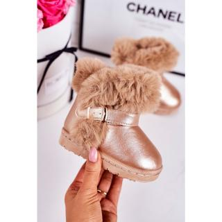 Warm Childrens Snow Boots With Fur Rose Gold JellyBeans šedá | tmavočervená | ružová 36