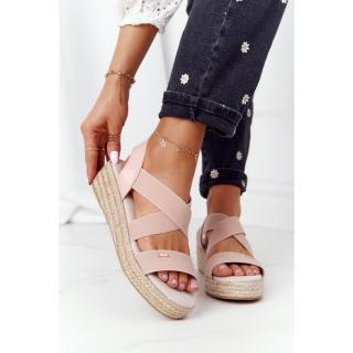 Wedge Sandals With Drawstring Big Star HH274413 Pink dámské Other 38