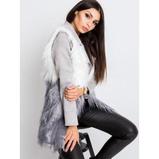 White and gray fur vest dámské Neurčeno M