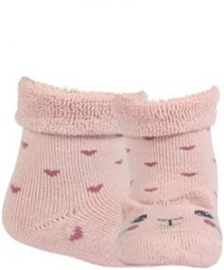 WOLA Ponožky dojčenské froté s uškami dievča Rose 15-17