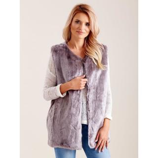 Women´s gray faux fur vest dámské Neurčeno S