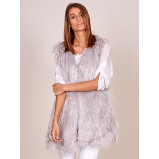 Women´s vest with longer hair, light gray dámské Neurčeno XXL