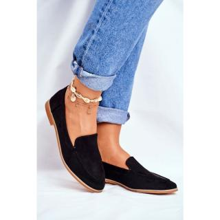 Womens Brogues Slip-on Loafers Suede Black Twinky dámské Other 38