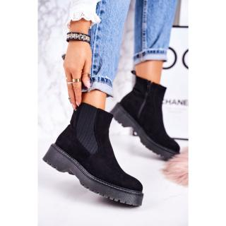 Womens Insulated Chelsea Boots On A Rubber Sole Suede Black Voyager dámské Other 36