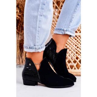 Womens Leather Boots Maciejka Patent Black Animal Print 04091-72 dámské Other 37