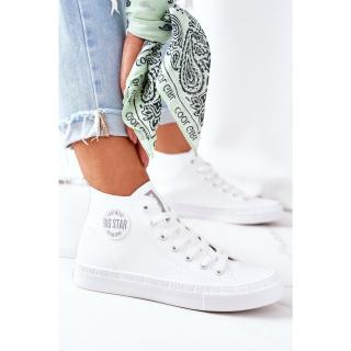Womens Leather High Sneakers Big Star GG274016 White dámské Other 38