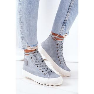 Womens Leather Warm Sneakers Big Star EE274115 Light Blue dámské Other 38