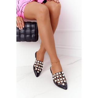 Womens Slippers With Pearls Black Ripple dámské Other 38