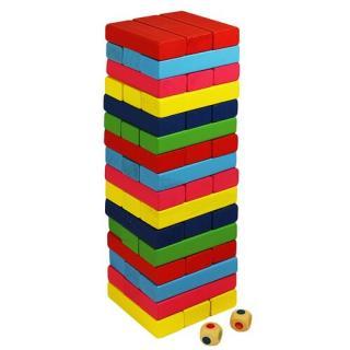 Wood Toys Drevená veža Jenga, farebná