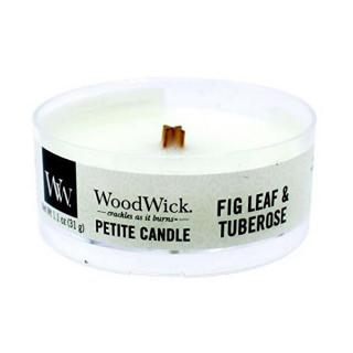 WoodWick Aromatická malá sviečka s dreveným knôtom Fig Leaf & Tuberose 31 g