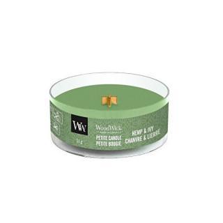 WoodWick Aromatická malá sviečka s dreveným knôtom Hemp & Ivy 31 g
