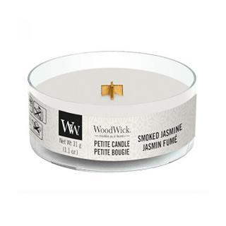 WoodWick Aromatická malá sviečka s dreveným knôtom Smoked Jasmine 31 g