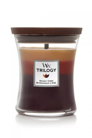 WoodWick vonná sviečka Trilogy Holiday Cheer stredná váza farebná