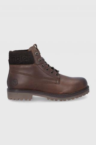 Wrangler - Kožené členkové topánky pánské hnedá 40