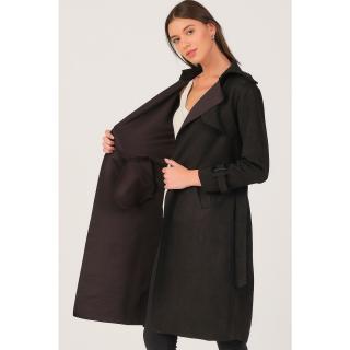 Z6702 DEWBERRY WOMENS SUEDE TRENCH COAT-BLACK dámské Other L