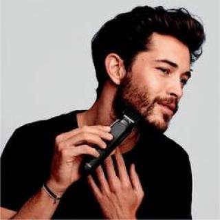 Zastrihávač vlasov, zastrihávač fúzov, holiaci strojček na tvár, presný zastrihávač Braun MGK3225, omývateľný, čierna