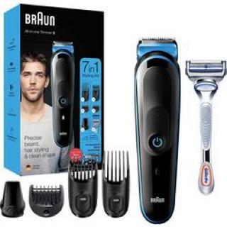 Zastrihávač vlasov, zastrihávač fúzov, presný zastrihávač Braun MGK3242, omývateľný, čierna, modrá