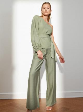 Zelené dámske široké nohavice Trendyol dámské zelená XS