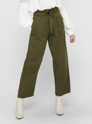 Zelené skrátené široké nohavice so zaväzovaním ONLY Pipi dámské zelená XS