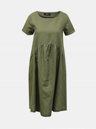 Zelené voľné ľanové šaty s vreckami ZOOT Medeline dámské zelená XL