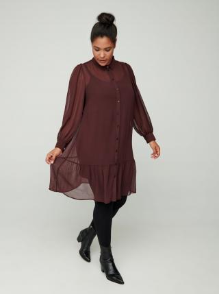 Zizzi hnedé košeľové šaty - 50-52 dámské hnedá 50-52