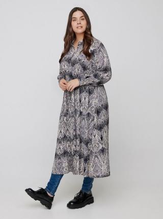 Zizzi sivé maxi košeľové šaty so vzormi - 54-56 dámské sivá 54-56
