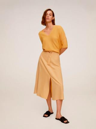 Žltá midi sukňa Mango Domenica dámské