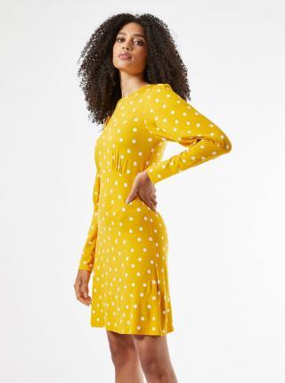 Žlté bodkované šaty Dorothy Perkins dámské žltá L