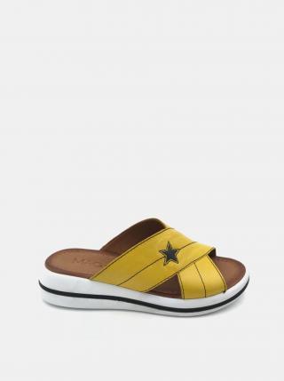 Žlté dámske kožené šľapky na platforme WILD dámské žltá 38