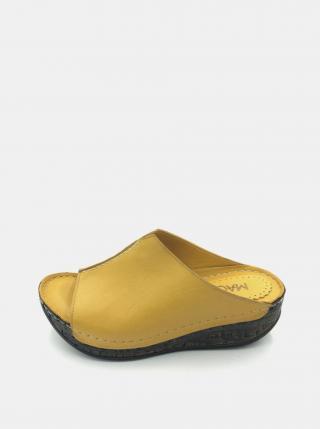 Žlté dámske kožené šľapky na plnom podpätku WILD dámské žltá 38