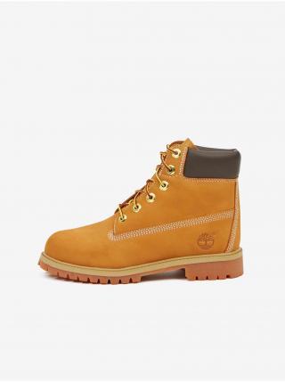 Žlté dievčenské členkové kožené topánky Timberland 6 In Premium WP Boot žltá 35 1/2
