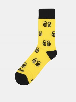 Žlté vzorované ponožky Fusakle Na zdravi pánské žltá 35-38